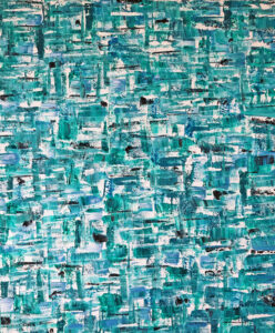 Blue abstract painting by Rachael Wotherspoon